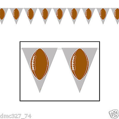 1 FOOTBALL Tailgate Super Bowl Party Decoration FOOTBALL Pennant FLAG - Superbowl Party Supplies