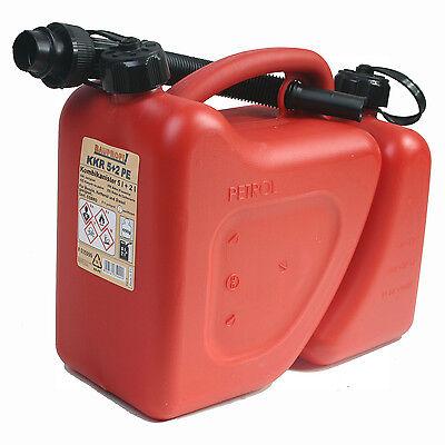 Doppelkanister rot 5+2 Liter mit Ausgiesser NEU Kombikanister Benzin-Kanister