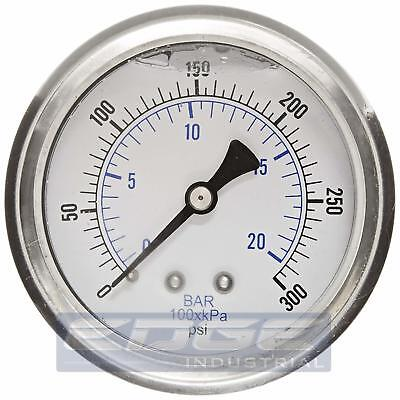 Liquid Filled Pressure Gauge 0-300 Psi 2.5 Face 14 Back Mount Wog
