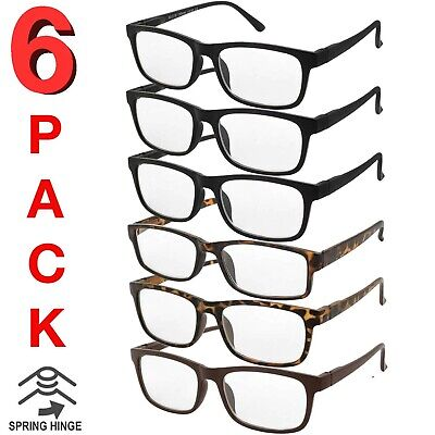 MENS WOMENS READING GLASSES UNISEX SPRING HINGE 6 PACK READERS BULK NEW (Hinge Reading Glasses)