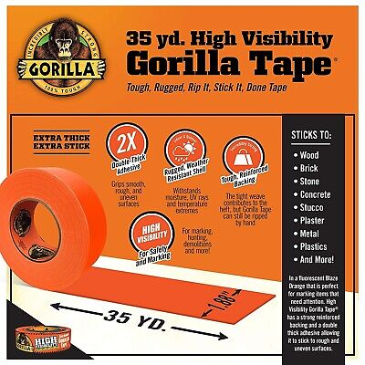 High Visibility Blaze Orange Duct Tape Strong Adhesive Gorilla Tape 1.88 X 35yd