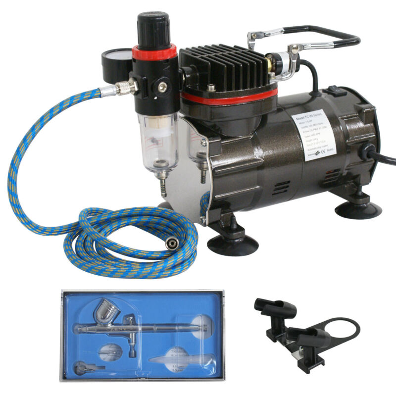 AIRBRUSH SYSTEM KIT w/ AIR ON DEMAND FUNCTION, Air Compressor Hobby Painting