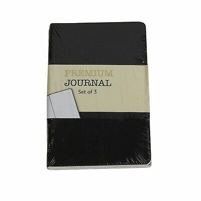 Personal Premium Journals Pack Of 3 Notepads 3.5in X 5.5in - Black Solid...