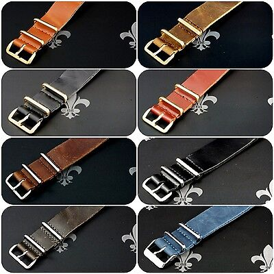 (Leather Watch Strap Band Wrap Military 4 Ring S/S & PVD Many Colours & Sizes)