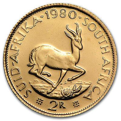 South African 2 Rand Gold Coin - Random Year Coin - AU/BU - SKU #12157
