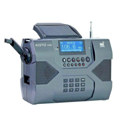 Used Kaito KA900 Digital Solar Crank NOAA Weather Stereo AM FM Shortwave Radio