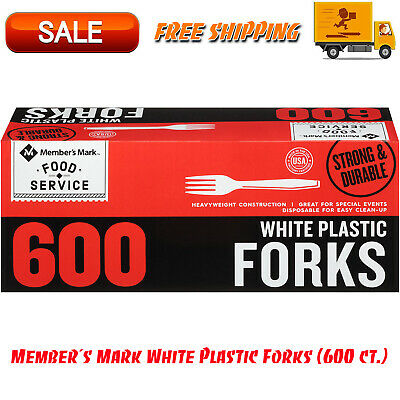 Members Mark White Plastic Forks 600 Ct. Box Disposable Heavy-duty Construction