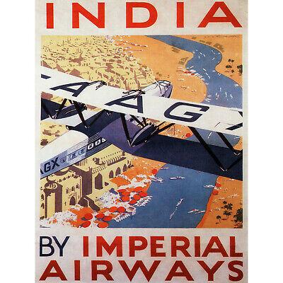 TRAVEL TOURISM INDIA IMPERIAL AIRWAYS UK VINTAGE RETRO ADVERTISING POSTER 2403PY