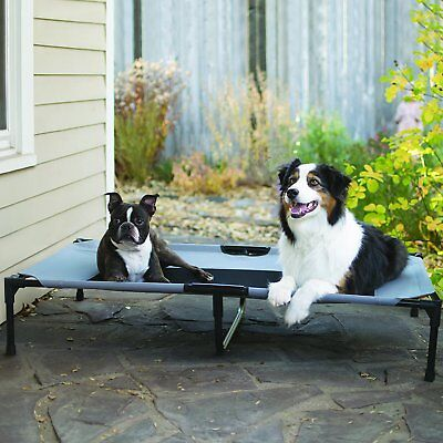 Dog Bed Frame Small Large Elevated Metal Black Real Outdoor Durable Comfy Tested