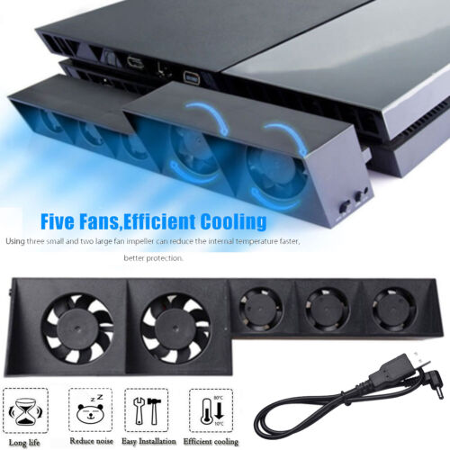 5 Fan Playstation Cooling External Turbo Temperature Control Cooler for PS4