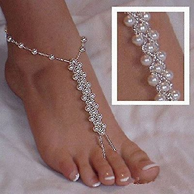 2PCS(1 Pair) Pearl Barefoot Sandals Beach Wedding Foot Jewelry Anklet Ankle