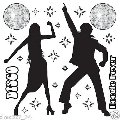 1970s Party Decoration Funky DISCO SILHOUETTE Saturday Night Fever Wall - Disco Party