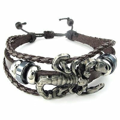 MENDINO Men's Alloy Leather Bracelet Braided Scorpion Gothic Bangle Adjustable