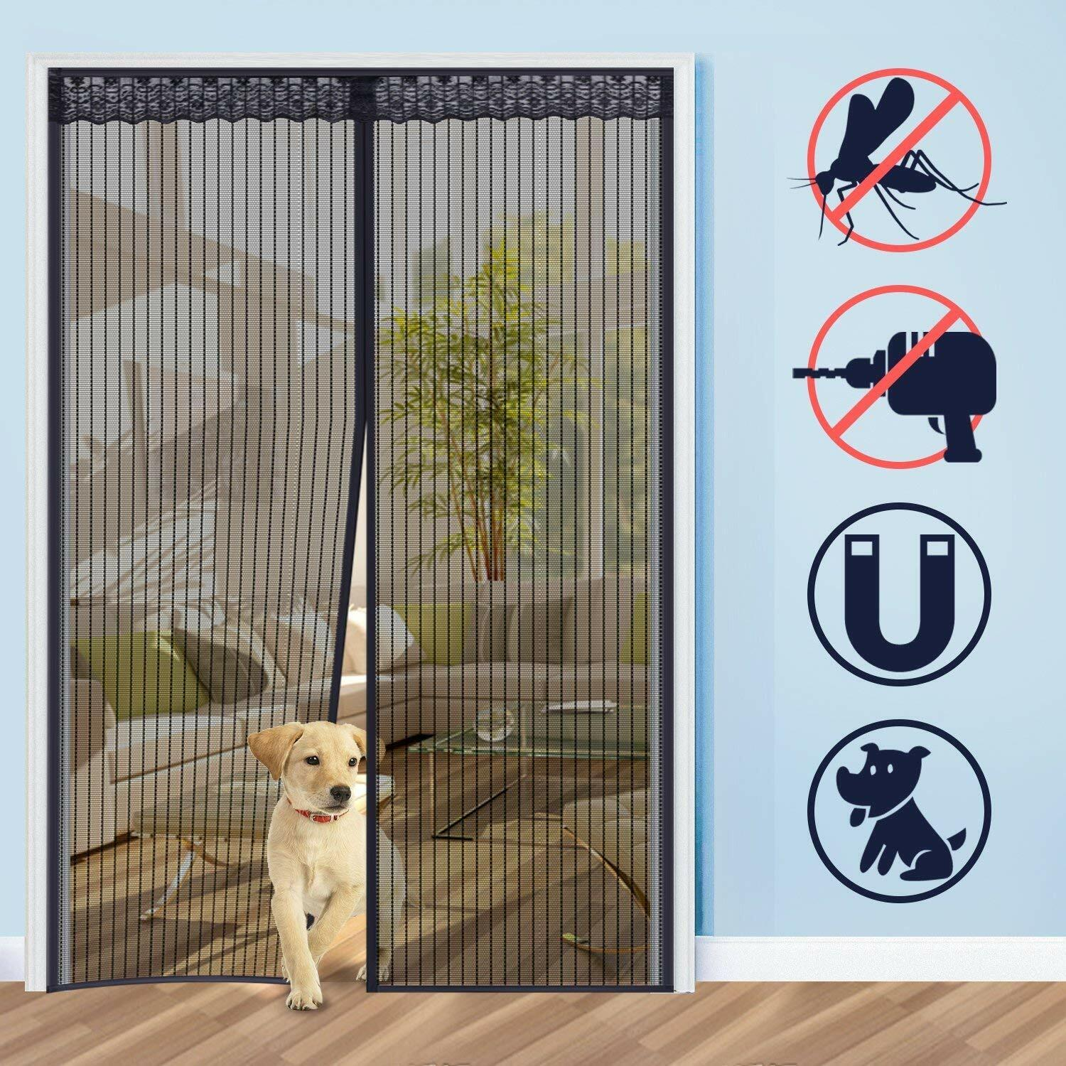 Magnetic Screen Door Heavy Duty Hands-Free Mosquito Mesh Anti Bugs Fly Curtain 3