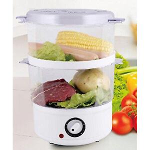 Electric Food Steamer 5 Quart 2 Baskets Vegetable Meat Fish Steaming Cooker
