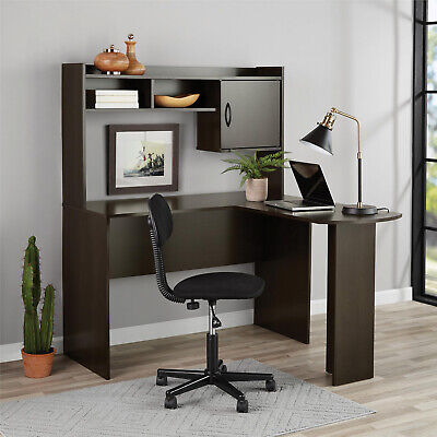 Corner Computer L-Shaped Desk With Hutch, Espresso