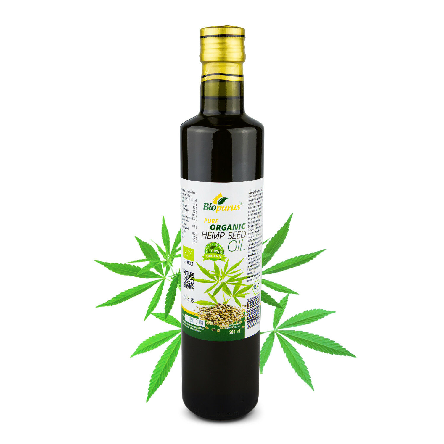 Pure Certified Organic Cold Pressed Hemp Seed Oil 500ml Biopurus