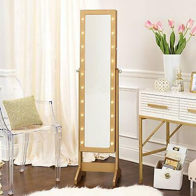 InnerSpace Luxury Products Free Standing Jewelry Armoire, JAFS2-Gold LED DEFECT