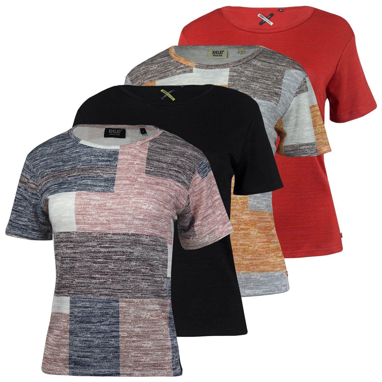 Khujo Damen lässiges weiches T-Shirt Top gerader Schnitt seitliche Schlitze