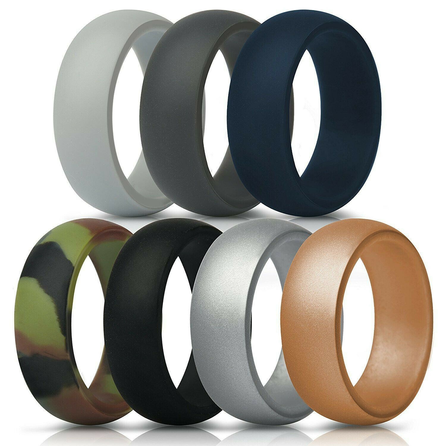 new silicone rings men s 7 pack