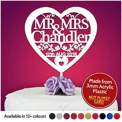 Heart Personalised Wedding Cake Topper Table Decoration Mr Mrs Bride and Groom - Bride And Groom Table