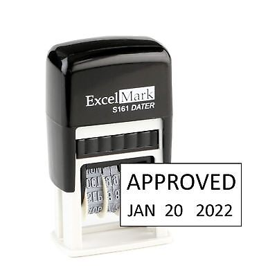 Approved - Excelmark S161 Self-inking Rubber Date Stamp - Compact - Black Ink