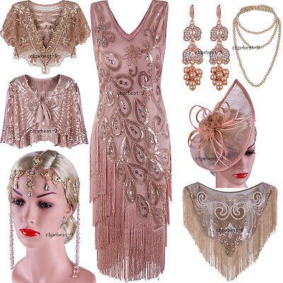 Rose Gold 1920s Dress Flapper Costumes Vintage Fringe Dress Peacock Evening Gown