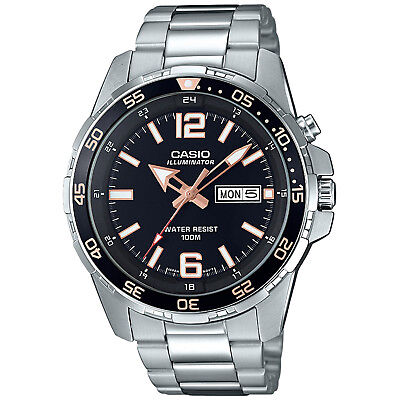 Casio Men's Quartz Rotating Bezel Silver-Tone Band 44mm Watch MTD1079D-1A3V