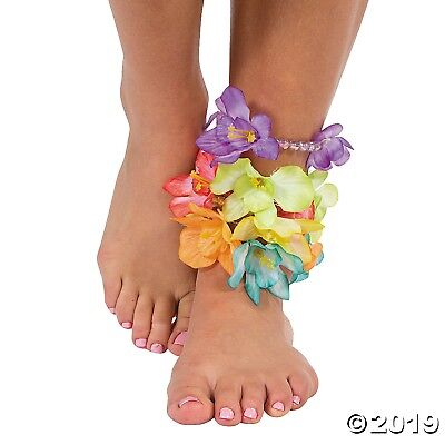 12 Beaded Hibiscus Flower Lei Anklets BRACELETS Tropical Beach Luau Party Favor