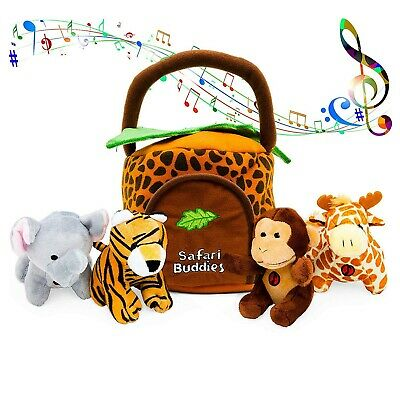 Kleeger Plush Talking Jungle Animals Toy Set  with Carrier f