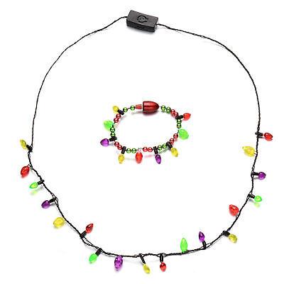Holiday Christmas Classic Large Bulb LED Novelty Christmas Flashing Necklace - Flashing Christmas Necklace