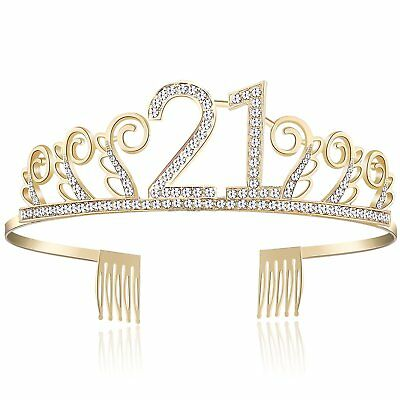 Gold 21st Crystal Happy Birthday Tiara Rhinestone Princess Crown Silver Diamante (Gold Princess Crown)