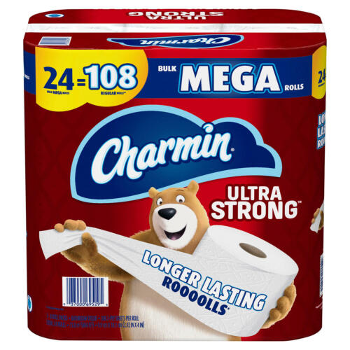 Charmin Ultra Strong Toilet Paper, 24 Bulk Mega Roll Bath Tissue, 308 Sheets Per