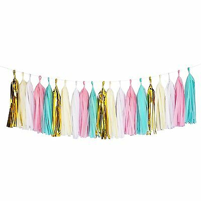 Mint Pink Gold Ivory White Tassel Garland Banner Party Decoration Wedding - Gold Garland