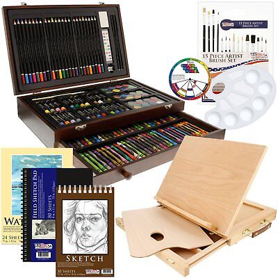 US Art Supply 163 Piece-Premium Mega Wood Box Art, Painting  Drawing Set That
