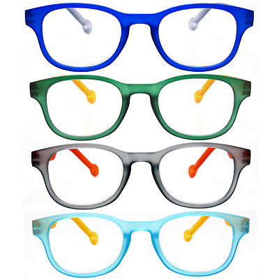 4 Pack Rubber Coated Flexible Two Tone Reading Glasses Spring Temples -