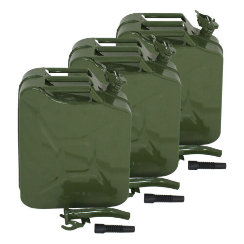3PCS Jerry Can 20L Liter Backup Steel Tank Fuel Gas Gasoline 5 Gallon Gal Green Business & Industrial