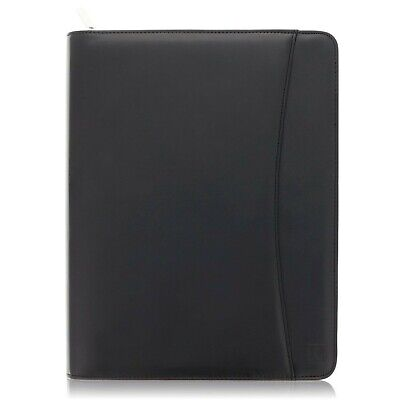 Lautus Designs Black Faux Leather Zippered Portfolio W8.5x11 Notepad Gift Box