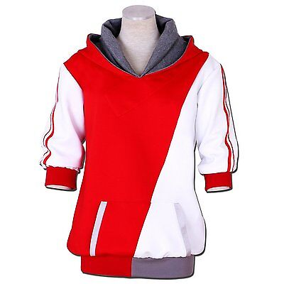 Pokemon Go Trainer Cosplay Costume Jacket Sweater Red Men White Hoodie Coat (Pokemon Trainer Jacket)