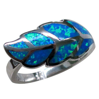 CHARMING BLUE OPAL 925 STERLING SILVER RING SIZE 5-10 Blue Opal Sterling Ring