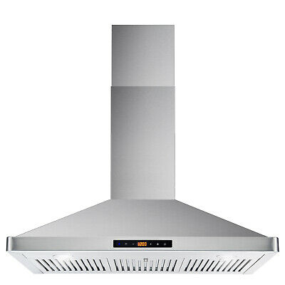 36 INCH WALL MOUNT STOVE HOOD, STAINLESS STEEL, LED LIGHTS, LCD MENU (OPEN BOX)