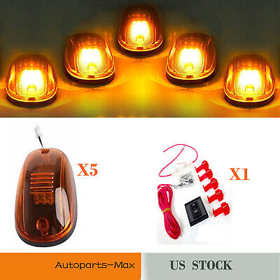 5x Roof Cab Marker 12 Amber LED Running Clearance Lights For 2003-2016 Dodge Ram