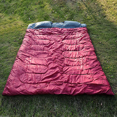 2 Person Double Wide Sleeping Bag Camping w/ 2 Pillows - Double Wide Sleeping Bag