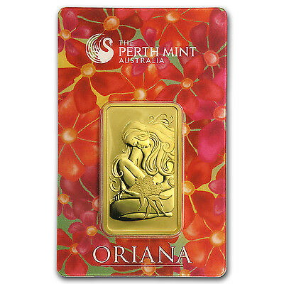 1 oz Gold Bar - Perth Mint Oriana Design (In Assay) - SKU #23565