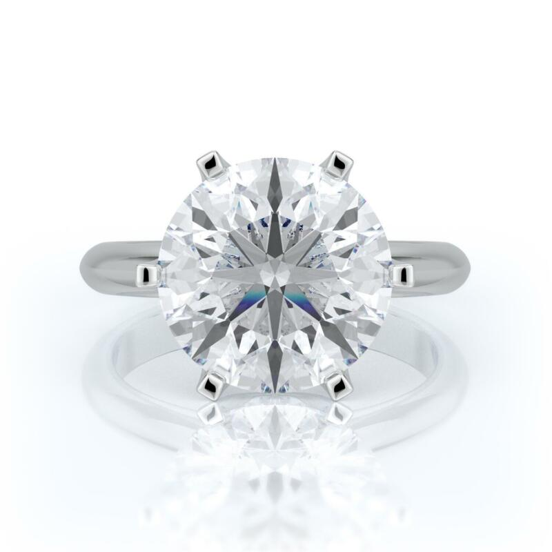 4 Ct D Si2 Round Cut Diamond Solitaire Engagement Ring 14k White Gold