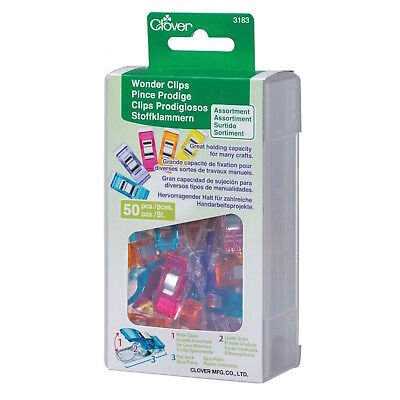 Clover 3183 Wonder Clips 50 Piece Assorted Colors NEW (50 Piece Clips)
