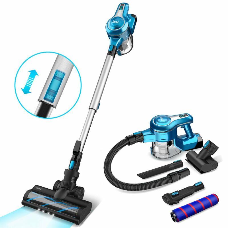 INSE Cordless Stick Vacuum Cleaner 23KPa Stick Handheld Vacuum 250W 2-in-1 brush