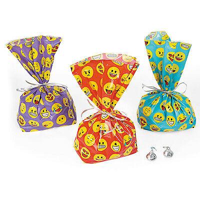 24 Emoticon EMOJI Cellophane Plastic Loot Bags PURPLE BLUE