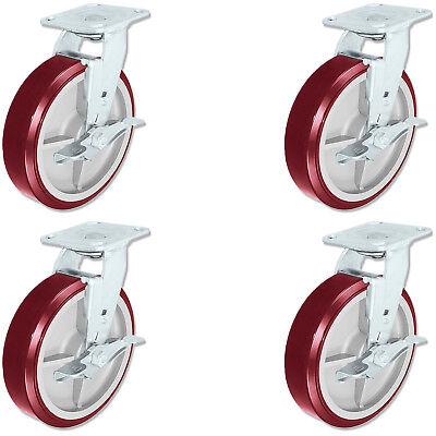 Casterhq - Heavy Duty Polyurethane Swivel Casters With Brake 8 Inch X 2 Inch