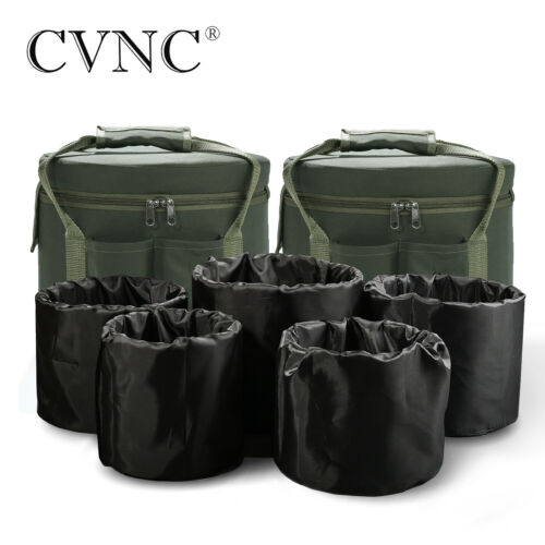 "CVNC Crystal Singing Bowl Set Cases Green Colored for 6""-12"" 7 Pcs"